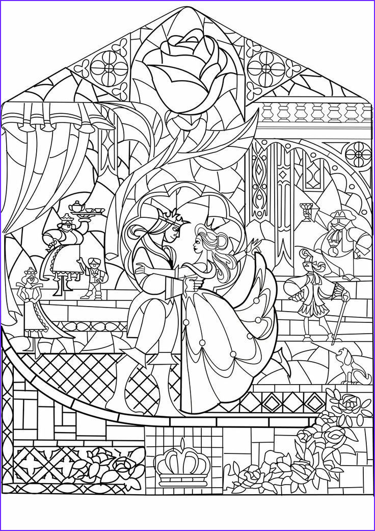 Disney Adult Coloring Book Best Of Images Beauty and the Beast Stained Glass Google Search Disney