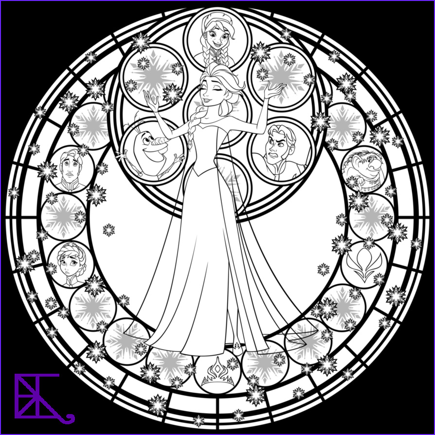 Disney Adult Coloring Book Best Of Photography Elsa Stained Glass Line Art by Akili Amethyst On