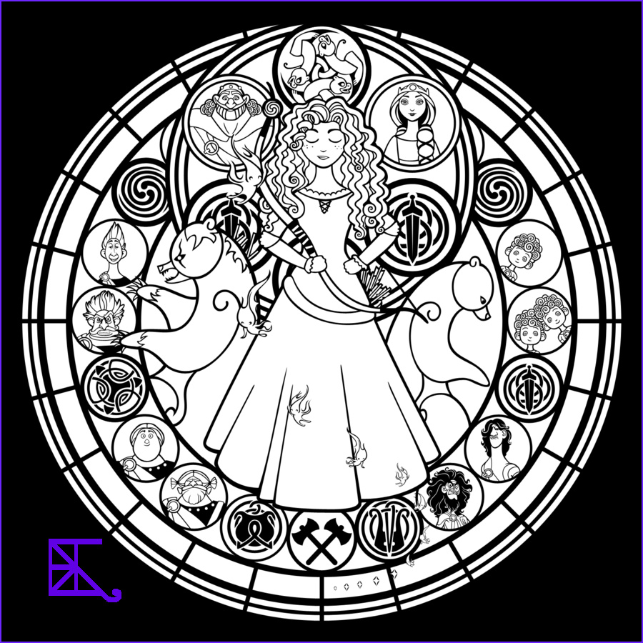 Disney Adult Coloring Book Luxury Image Disney Brave Stained Glass Merida Line Art by Akili