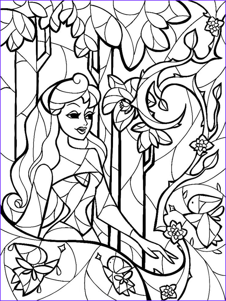 Disney Coloring Book for Adults Beautiful Collection Stained Glass Sleeping Beauty Coloring Sheet by Man