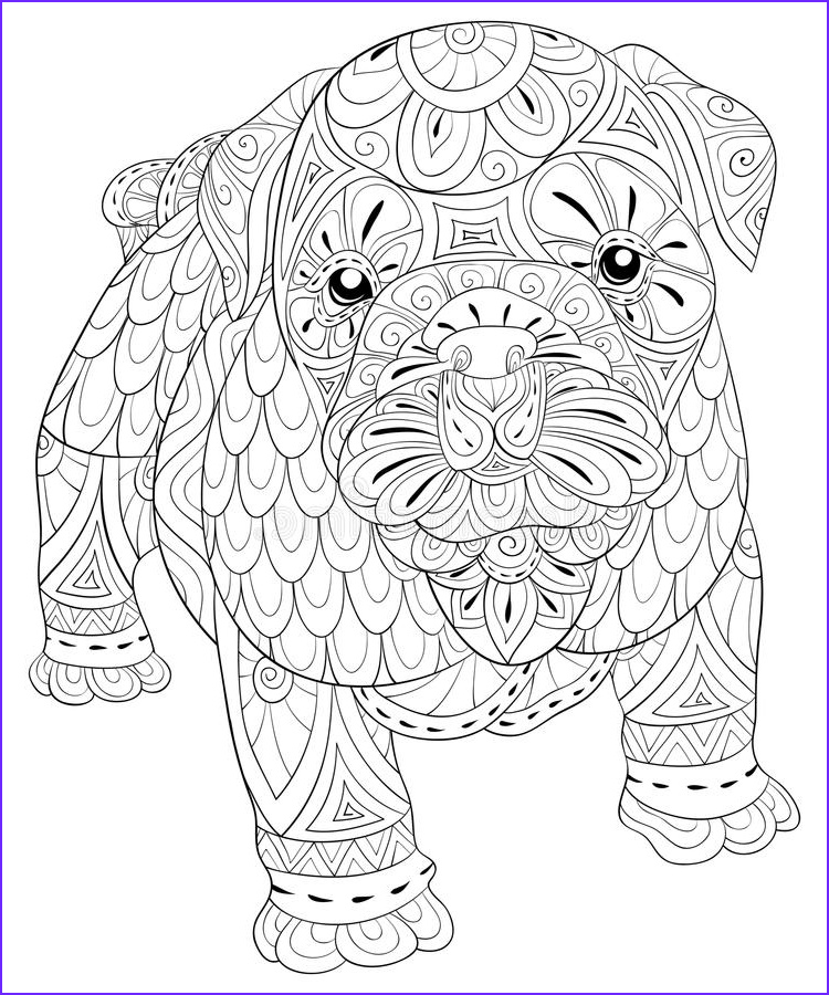 adult coloring page cute isolated dog relaxing zen art style illustration cute dog coloring relaxing zen art style image
