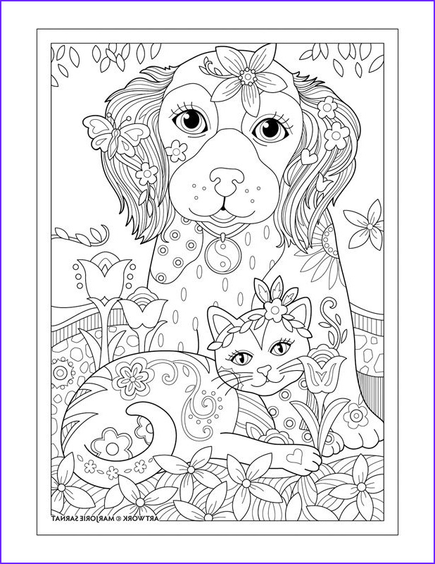 """Dog Adult Coloring Book Best Of Collection Marjorie Sarnat S Pampered Pets """"dog Cat and butterfly"""