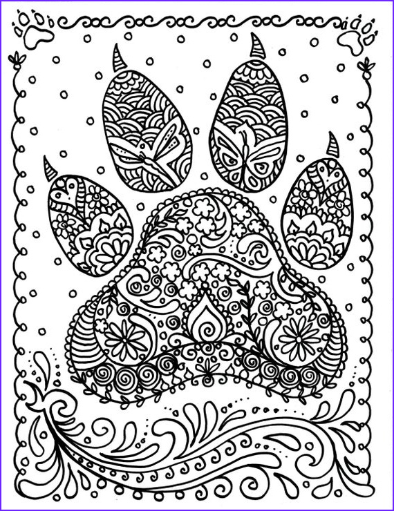 Dog Adult Coloring Book Cool Photos Instant Download Dog Paw Print You Be the Artist Dog