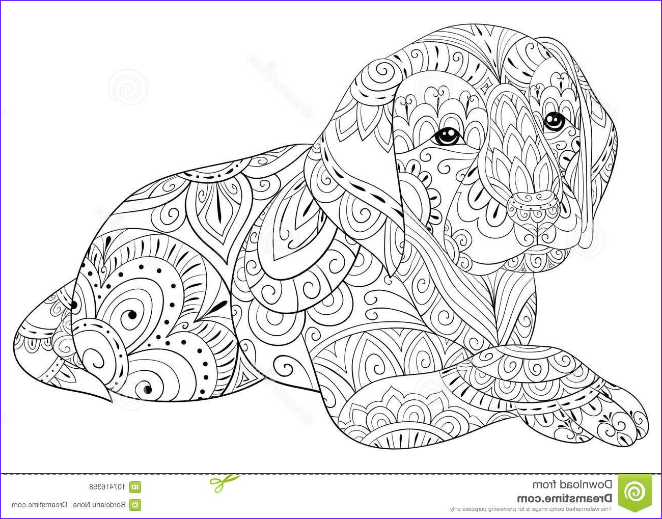 cute little dog coloring relaxing zen art style illustration poster wallpaper adult coloring page cute dog image