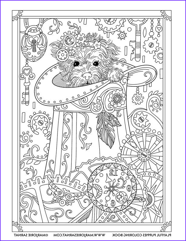 Dog Coloring Book for Adults Inspirational Images Steampunk Pup Playful Puppies Coloring Book by Marjorie