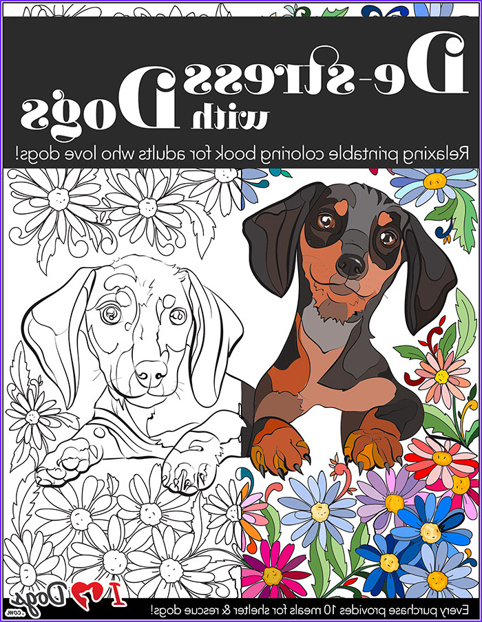 de stress with dogs 10 page printable coloring book for adults who love dogs instantly print
