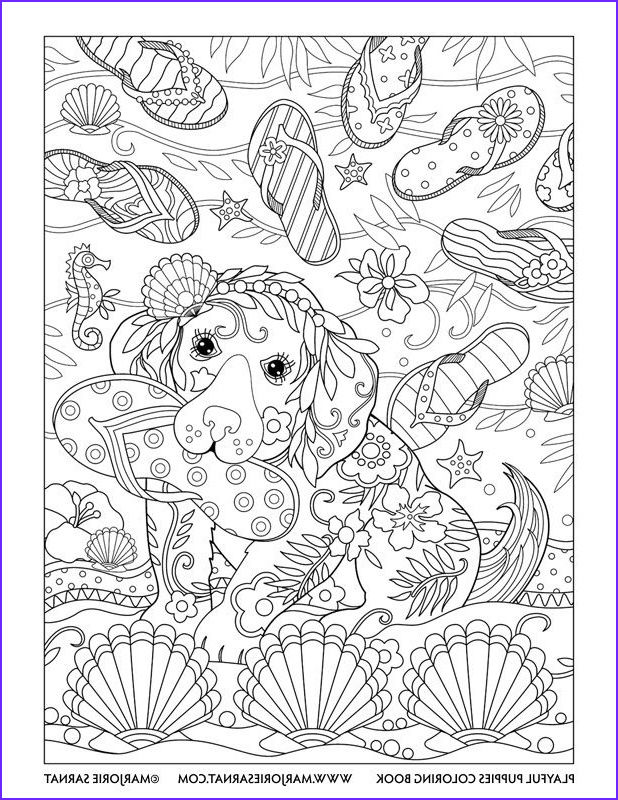 Dogs Coloring Pages for Adults Best Of Gallery Flip Flops Playful Puppies Coloring Book by Marjorie