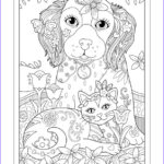 """Dogs Coloring Pages For Adults New Gallery Marjorie Sarnat S Pampered Pets """"dog Cat And Butterfly"""