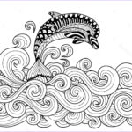 Dolphin Coloring Book Awesome Photos Sea Waves Drawing At Getdrawings