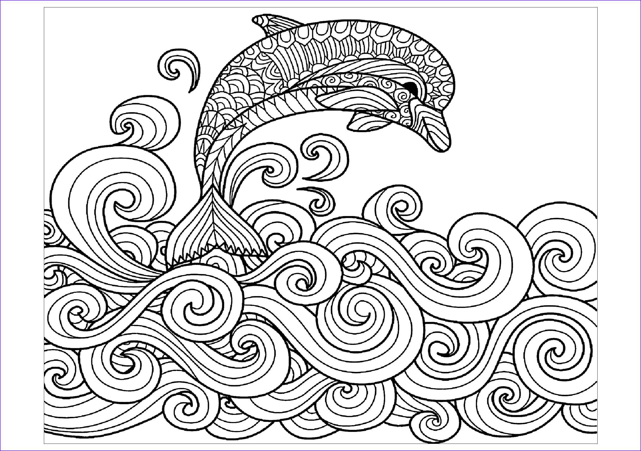 Dolphin Coloring Book Beautiful Image Dolphin Waves Dolphins Adult Coloring Pages