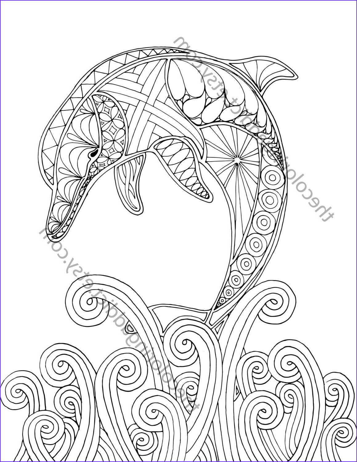 Dolphin Coloring Book Best Of Stock Dolphin Coloring Page Adult Coloring Sheet Nautical