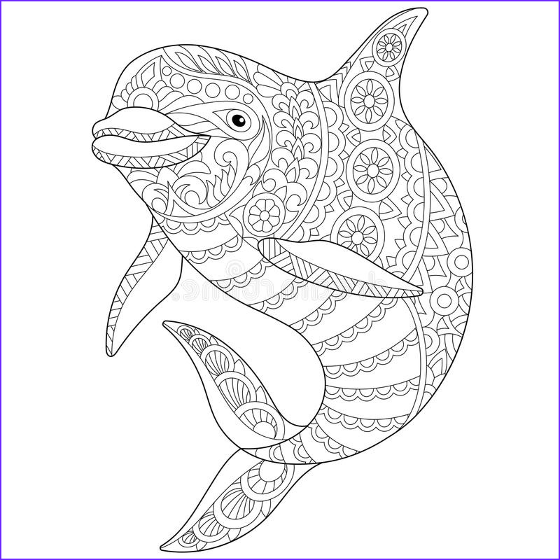 stock illustration zentangle stylized dolphin ocean animal freehand sketch adult anti stress coloring book page doodle elements image