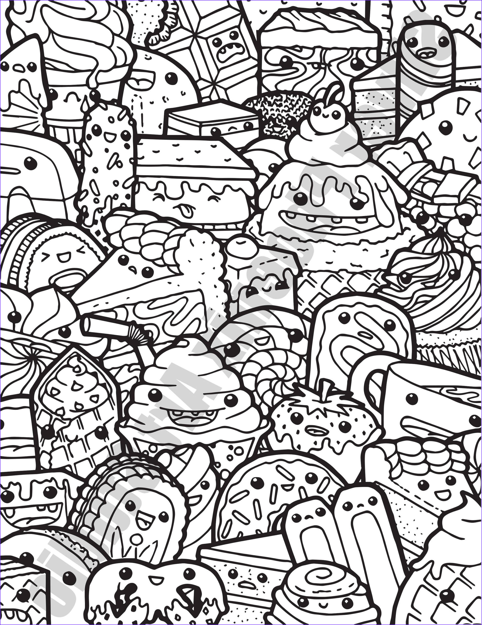 Doodle Coloring Pages Awesome Photos Kawaii Sweets Doodle Adult Coloring Page Printable Digital