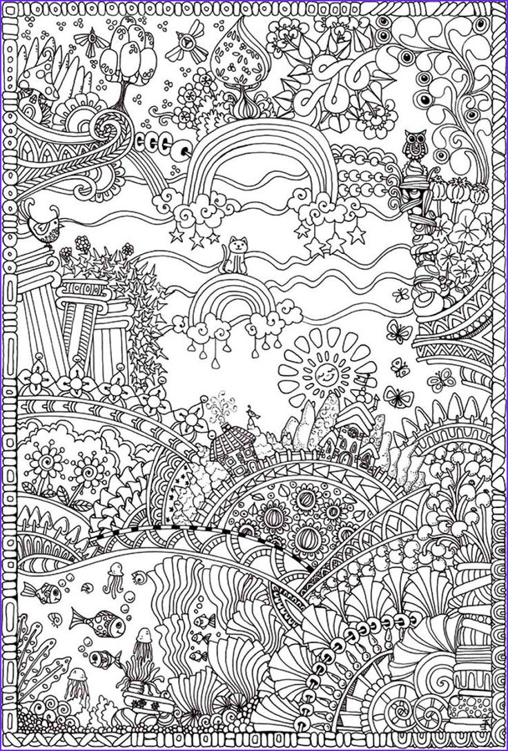 Downloadable Adult Coloring Books Cool Collection Insanely Intricate Entangled Landscapes Coloring Page3