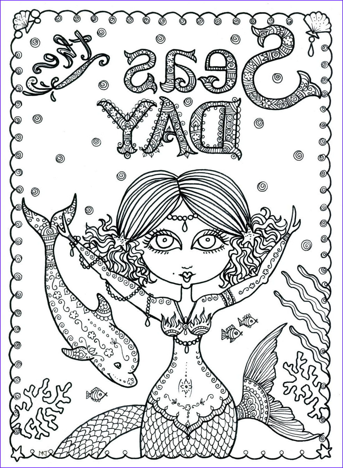 Downloadable Adult Coloring Books Unique Images Seas the Day Instant Download Coloring Page Book Art Adult