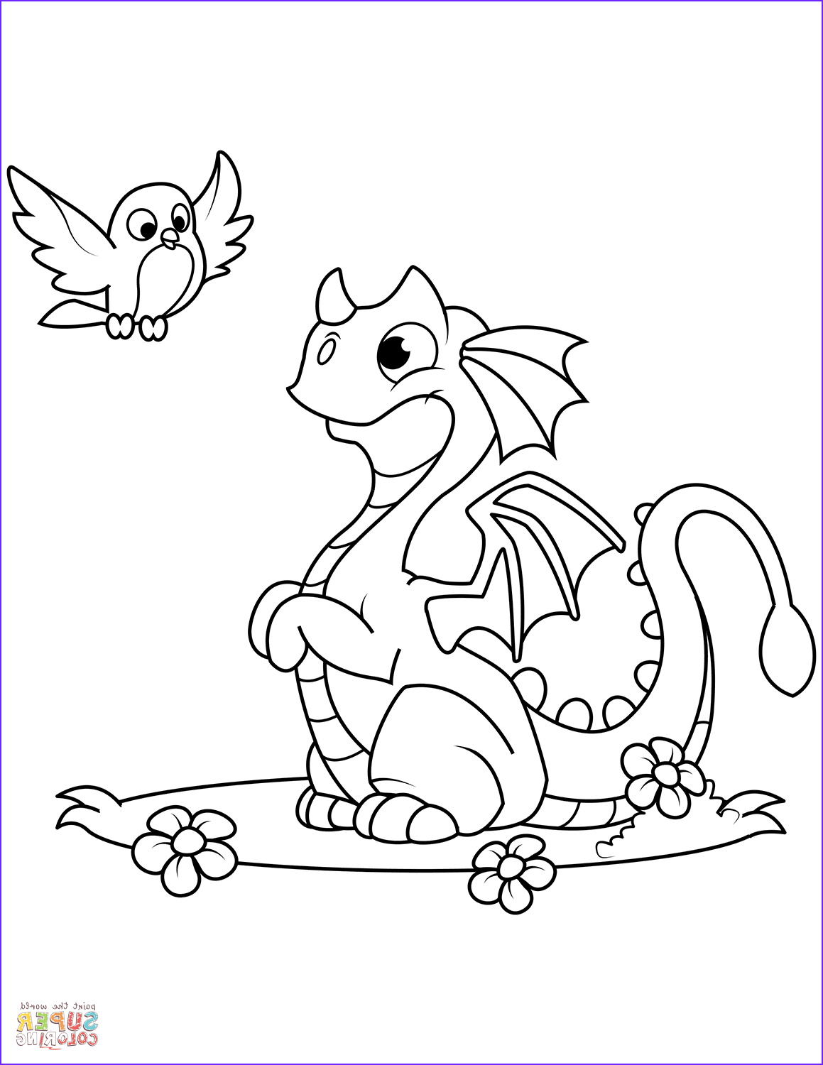 Dragon Coloring Pages Luxury Photos Cute Dragon and Bird Coloring Page