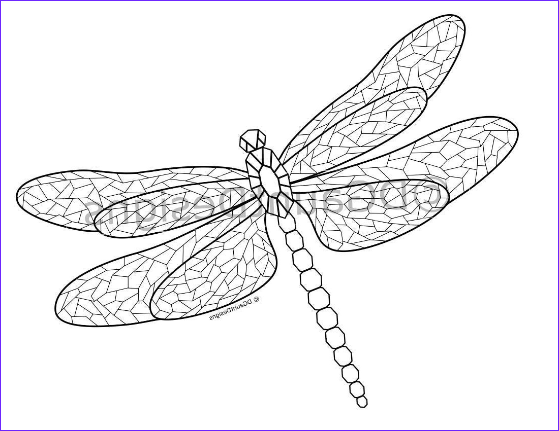 mosaic dragonfly coloring page for ref=market