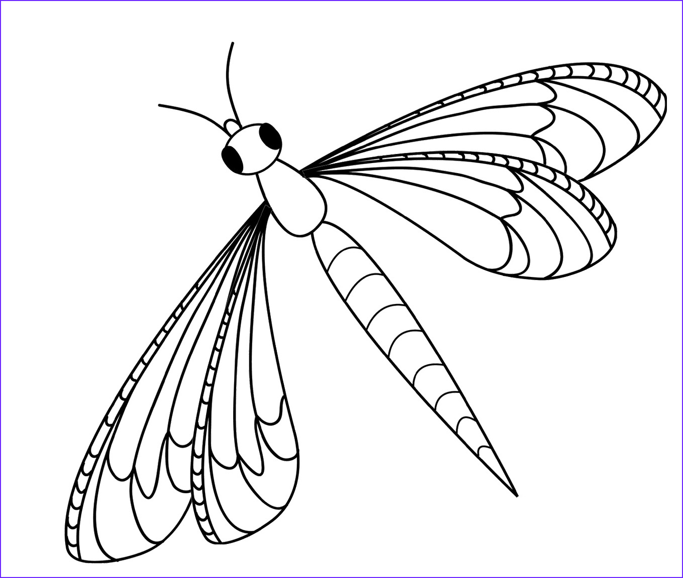 Dragonfly clipart coloring page