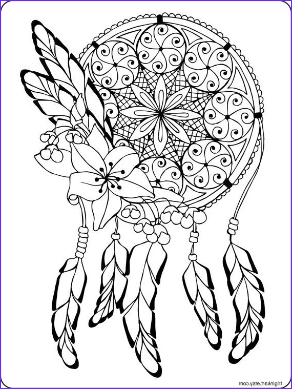 Dream Catcher Coloring New Photos Dream Catcher Adult Coloring Page Etsy