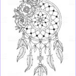Dream Catcher Coloring Pages For Adults Beautiful Photography Hand Drawn Dreamcatcher For Adult Coloring Page Stock
