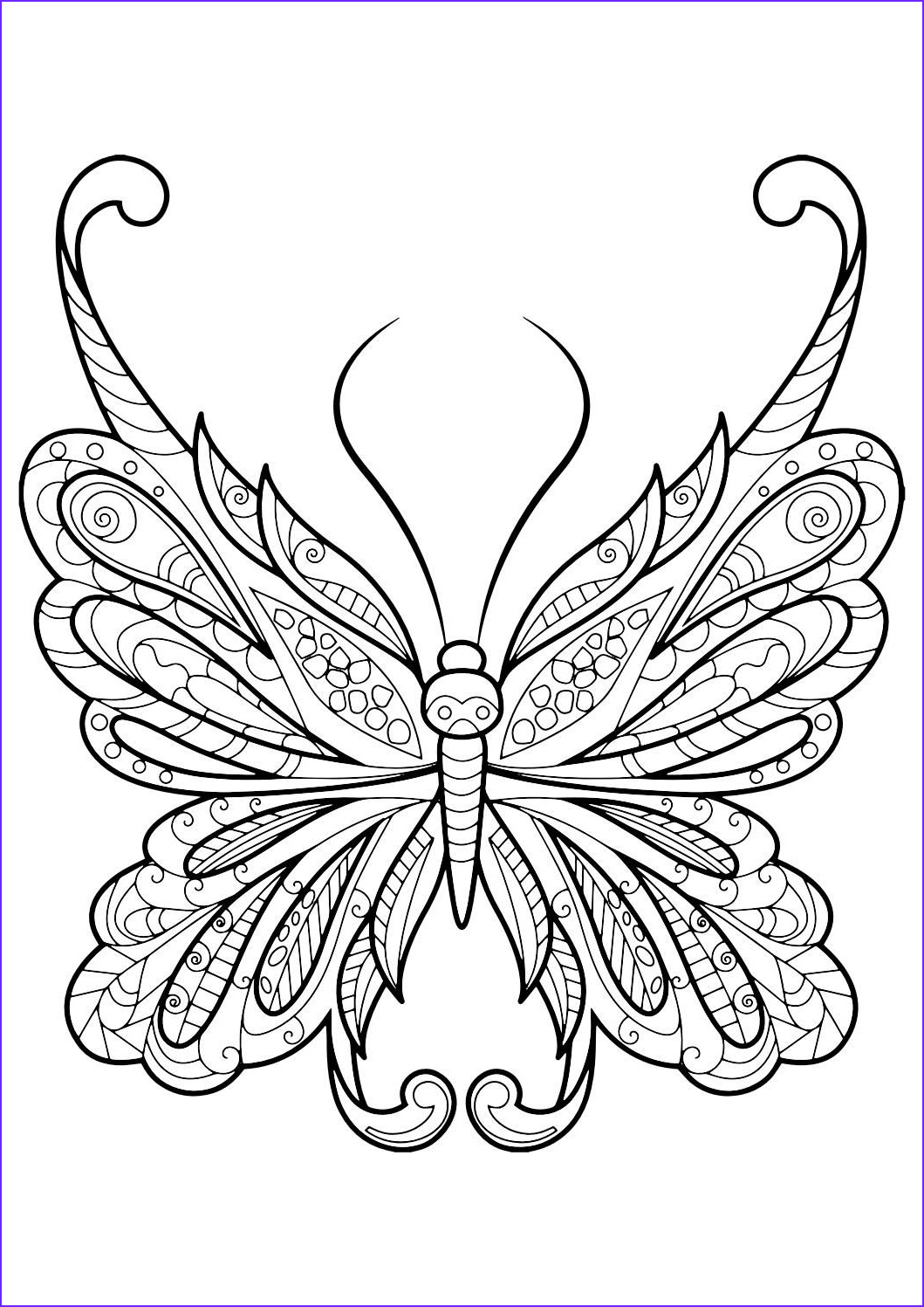 Easy Adult Coloring Pages Beautiful Collection Adult butterfly Coloring Book