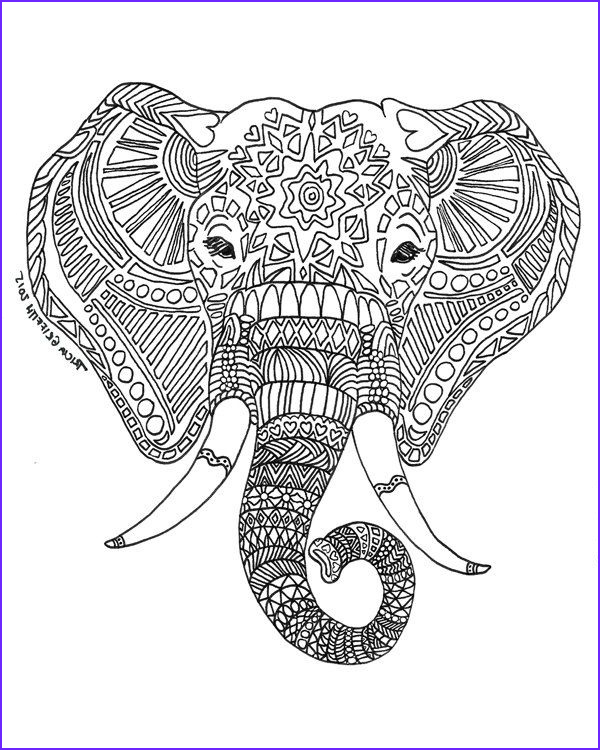 """Elephant Coloring Book New Image Printable Zen Critters """"sun Elephant"""" Coloring Page"""