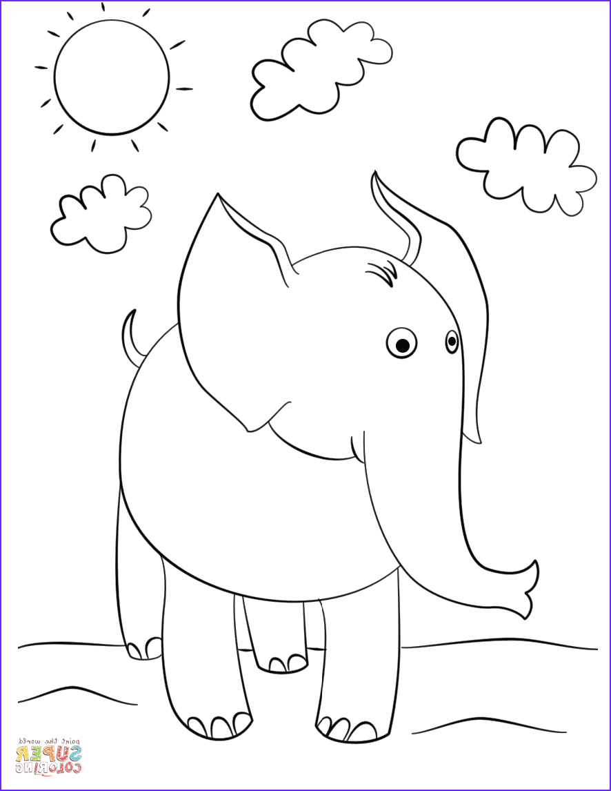 Elephant Coloring Pages Cool Photos Cute Cartoon Elephant Coloring Page