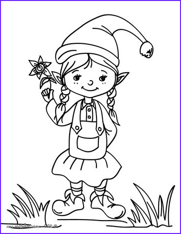 Elf Coloring Beautiful Stock Christmas Girl Elf Coloring Pages Hellokids