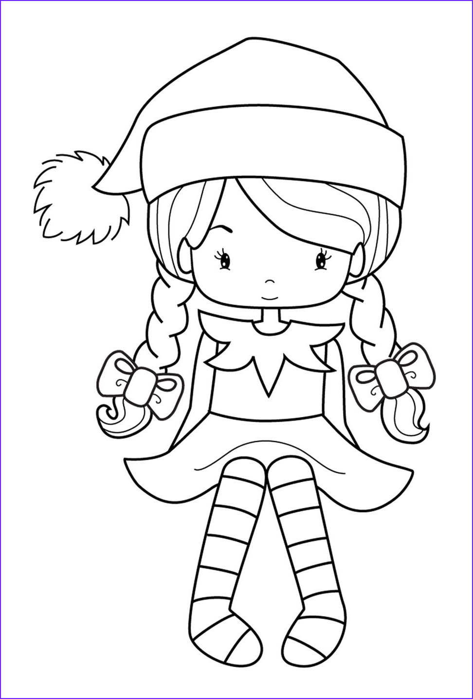Elf Coloring Pages Printable Awesome Photos Elveswatching Girl 972×1434