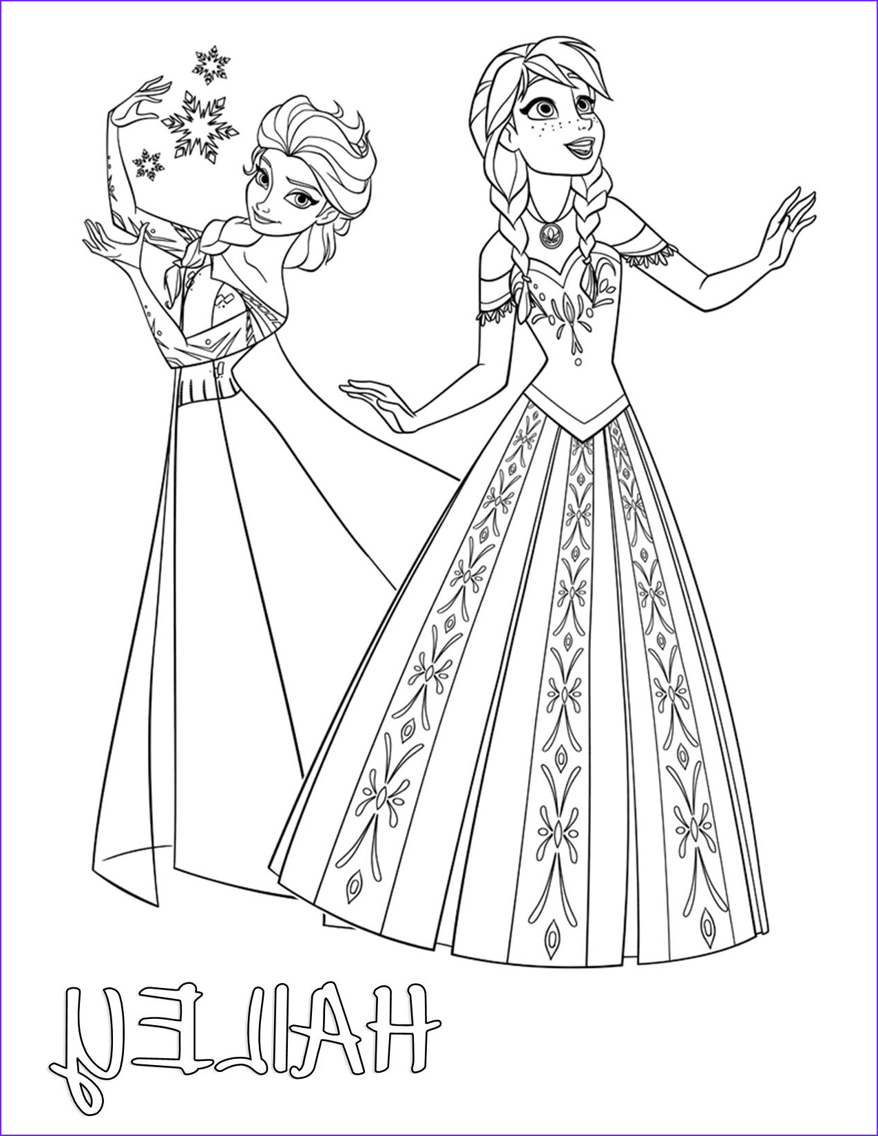 frozen elsa and anna color your own t shirt personalized