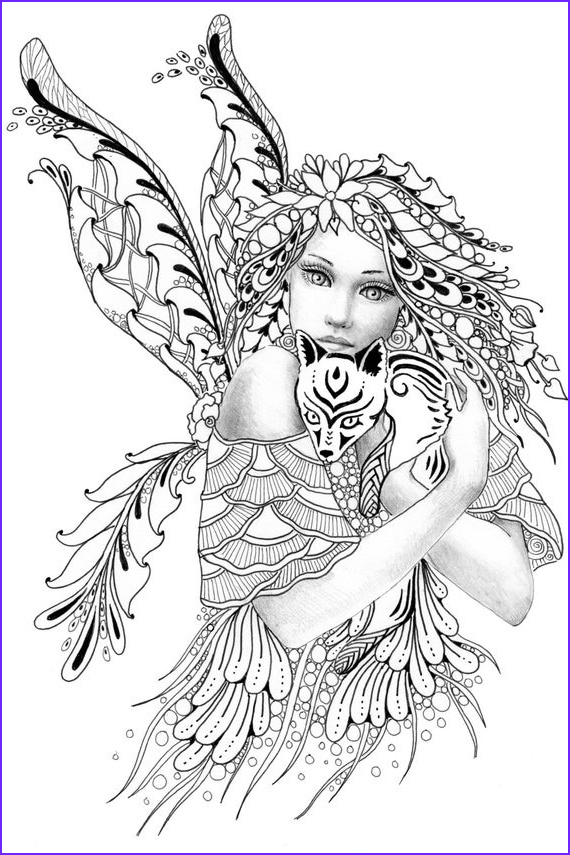 foxie fairy tangles digi stamp fairy and