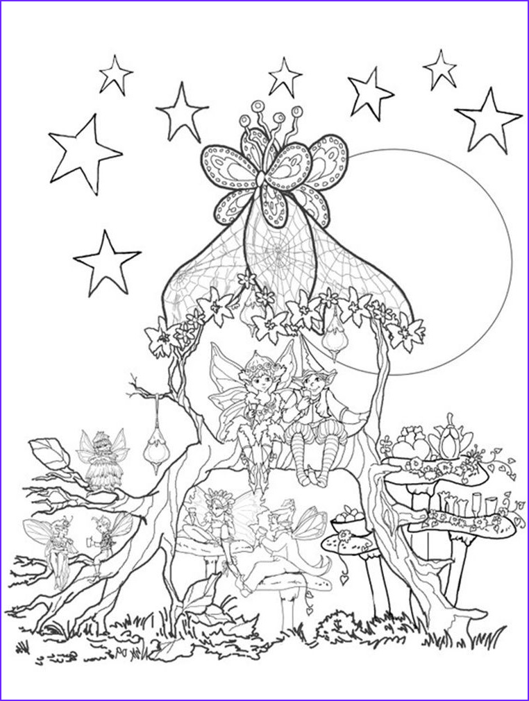 Fairy Coloring Pages for Adults New Images Fairies In A Tree House Coloring Page