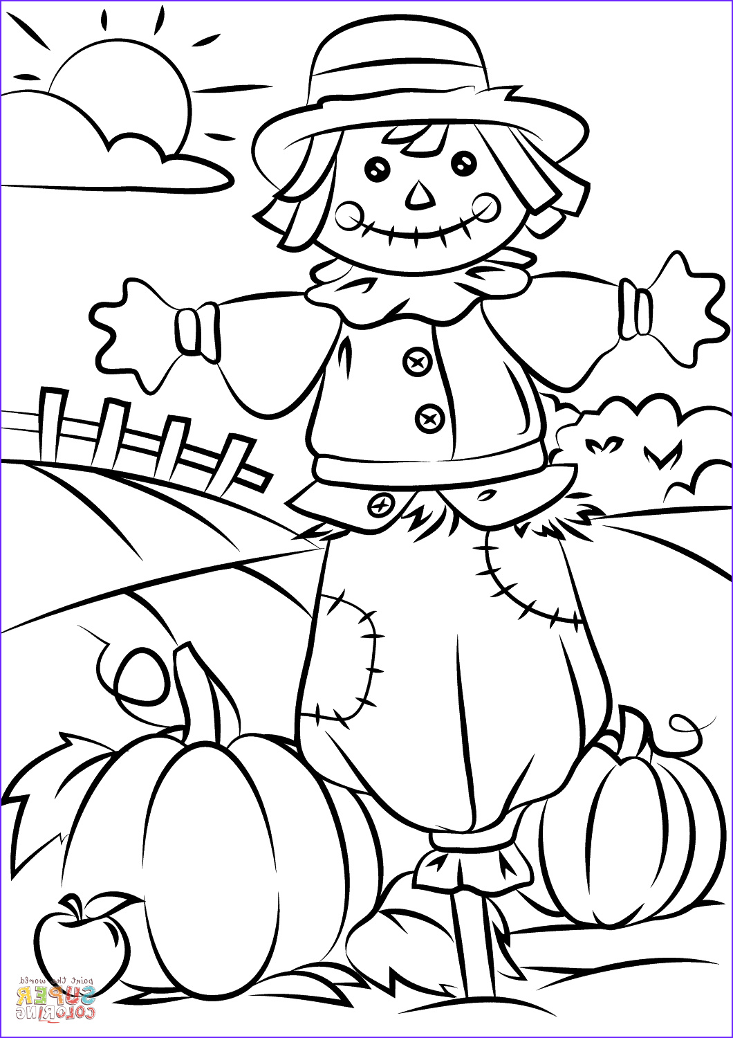 Fall Coloring Pages Free Unique Photos Coloring Autumn Scene with Scarecrow Coloring Page Free