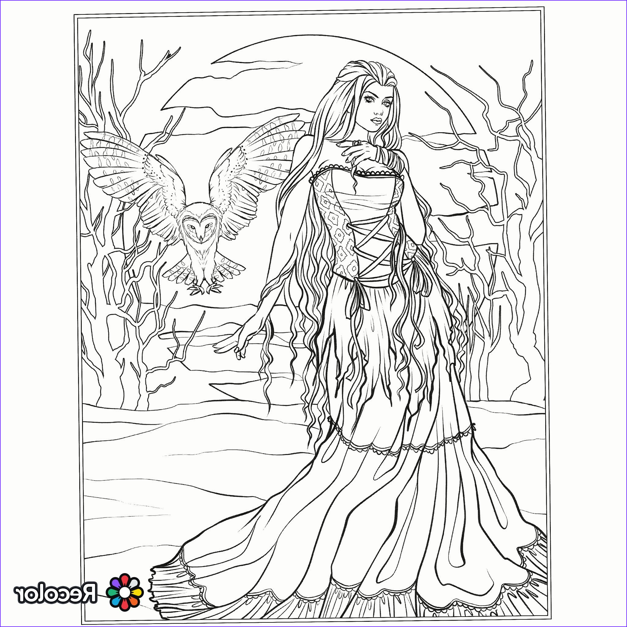 Fantasy Adult Coloring Pages Cool Collection Halloween Gothic Coloring Page