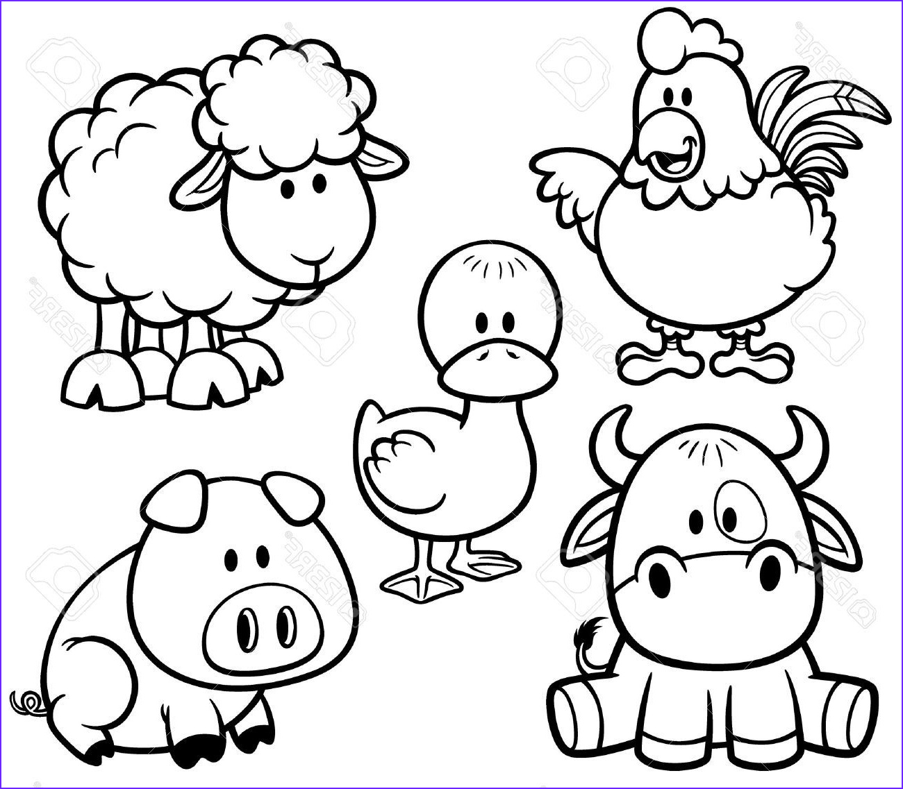 Farm Animals Coloring Sheets Inspirational Stock Stock Outline