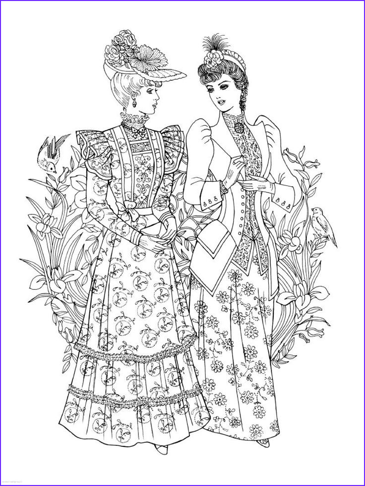 Fashion Coloring Cool Gallery Creative Haven Art Nouveau Fashions Coloring Book