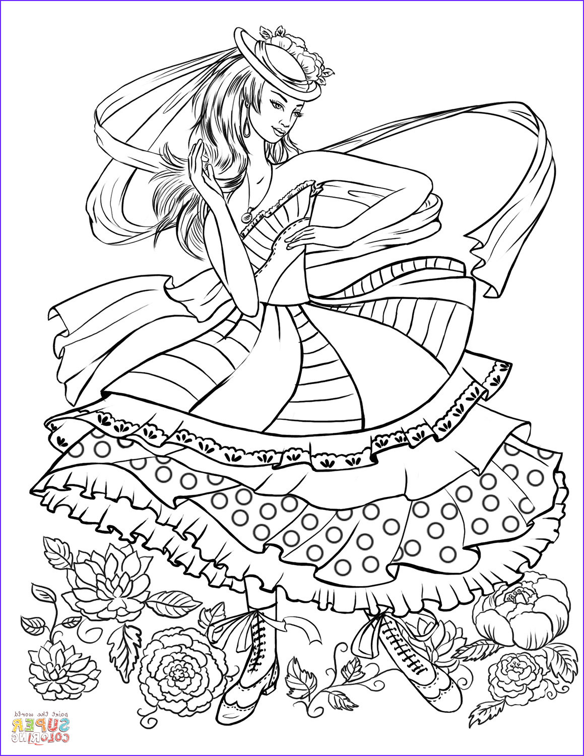 Fashion Coloring Elegant Photos Girl Dancing In A Vintage Fashion Clothing Coloring Page
