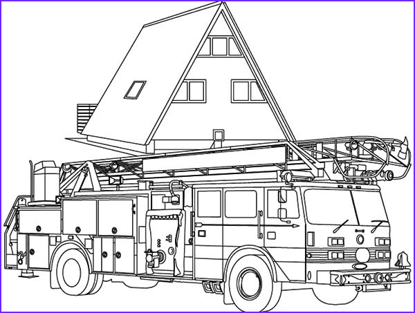 fire engine at head quarter coloring pages