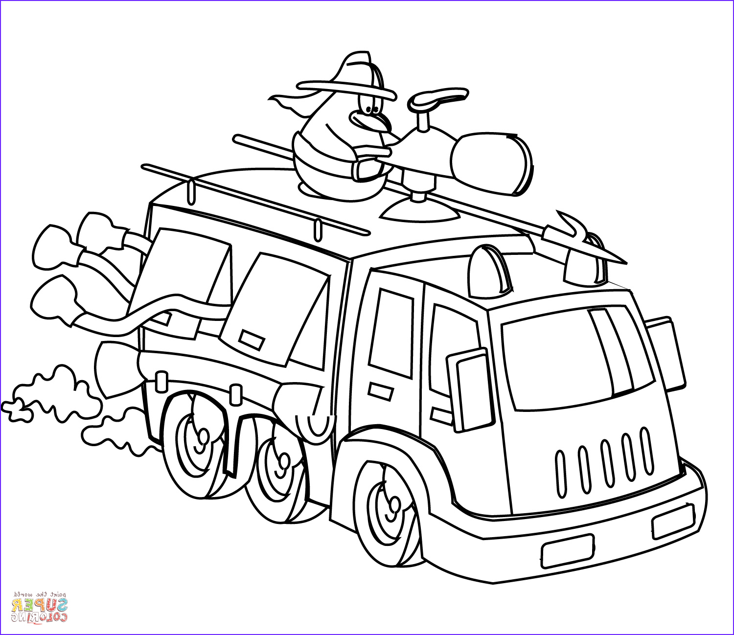 Fire Truck Coloring Pages Inspirational Stock Cartoon Fire Truck Coloring Page