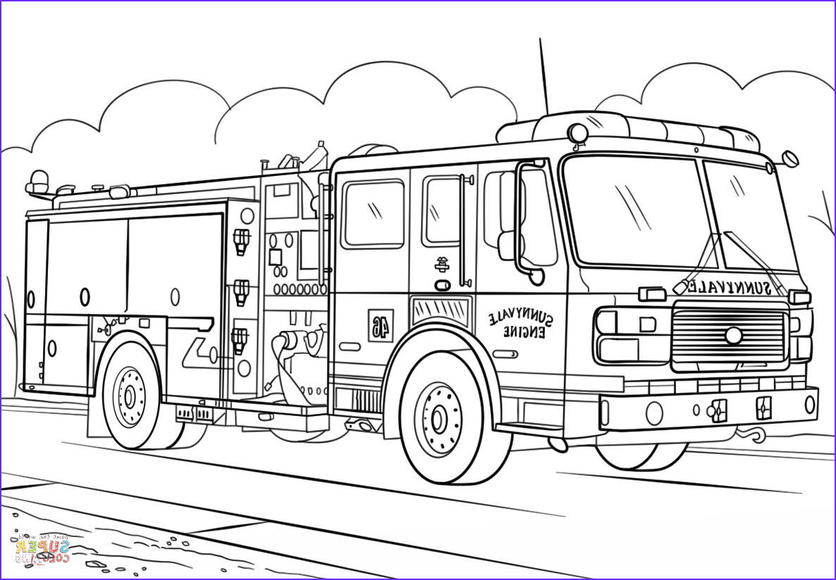 Fire Truck Coloring Pages Luxury Images Fire Truck Coloring Page