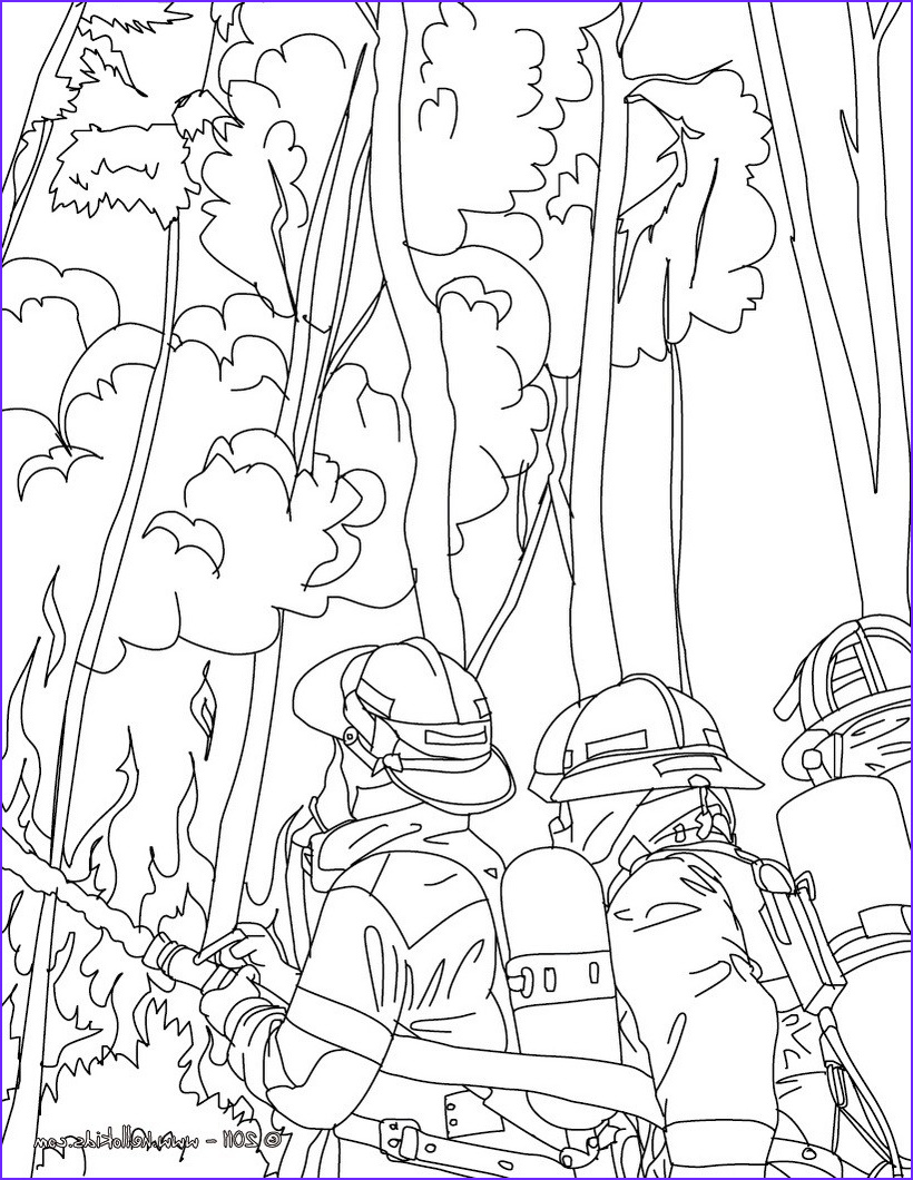 Firefighters Coloring Pages Awesome Photos Firemen Fighting Tree Fire Coloring Pages Hellokids