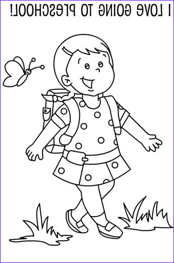 a preschool girl student on her first day of school coloring page 2