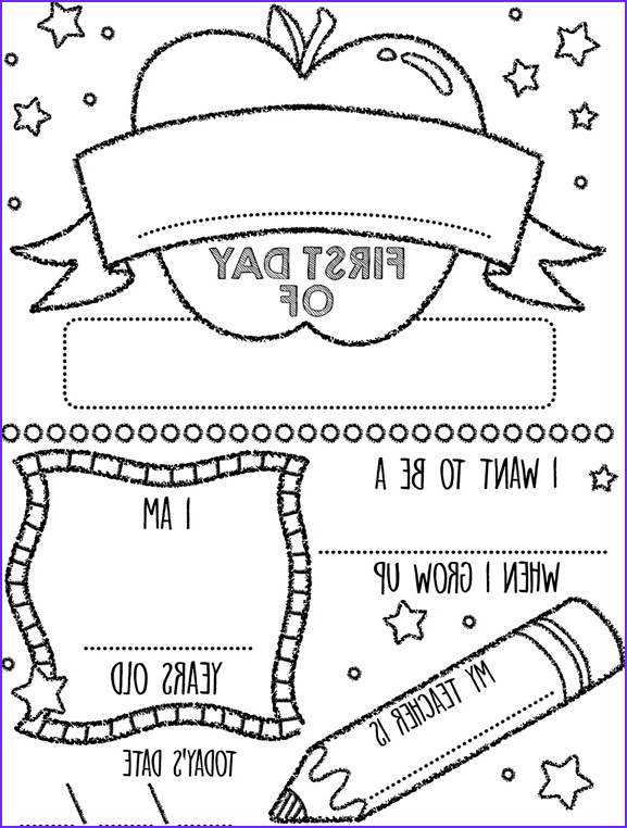 apple first day of school sign coloring page