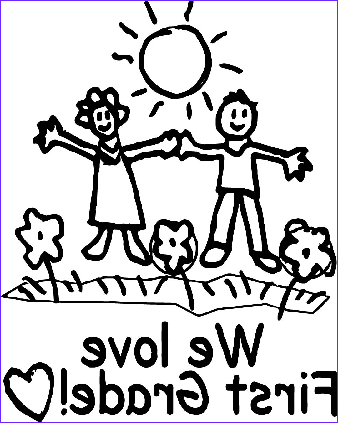 we love first grade coloring page