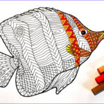 Fish Coloring Pages For Adults Cool Photos Butterflyfish Pdf Zentangle Coloring Page Scribble And Sti