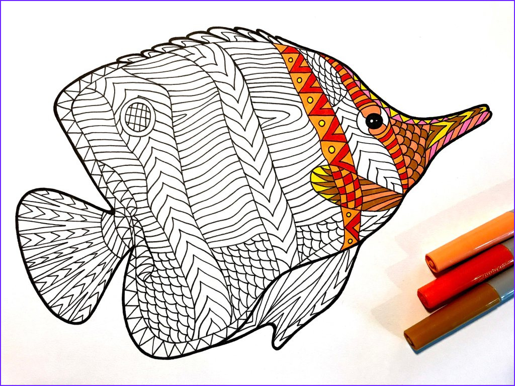 butterflyfish pdf zentangle coloring page