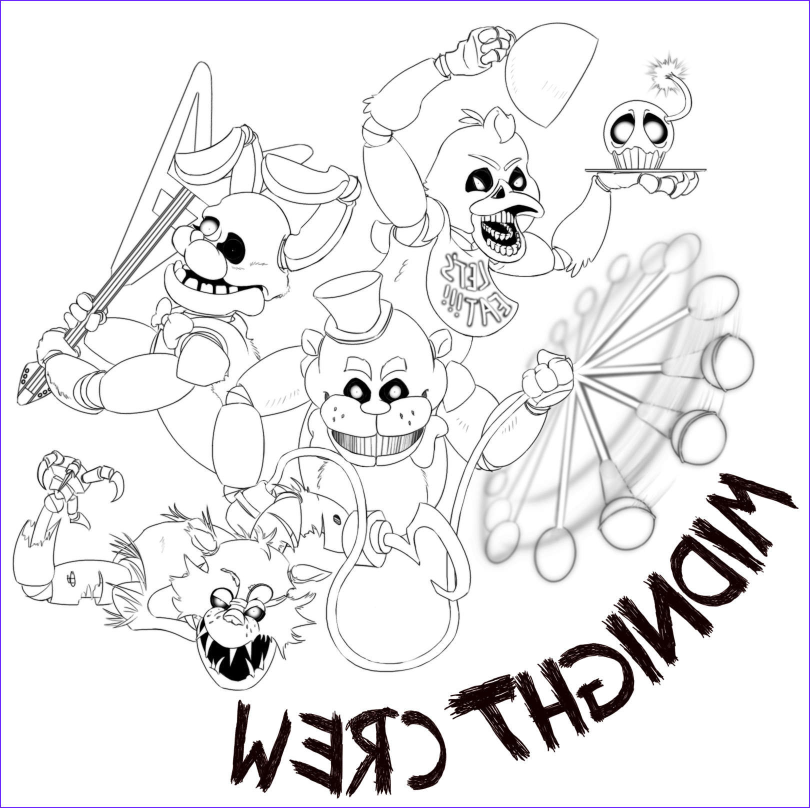 fnaf coloring pages all characters