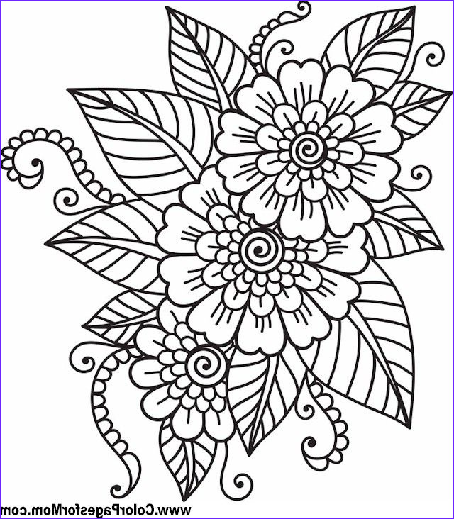 Flower Coloring Pages for Adults Awesome Collection Flower Coloring Page 41 … Coloring