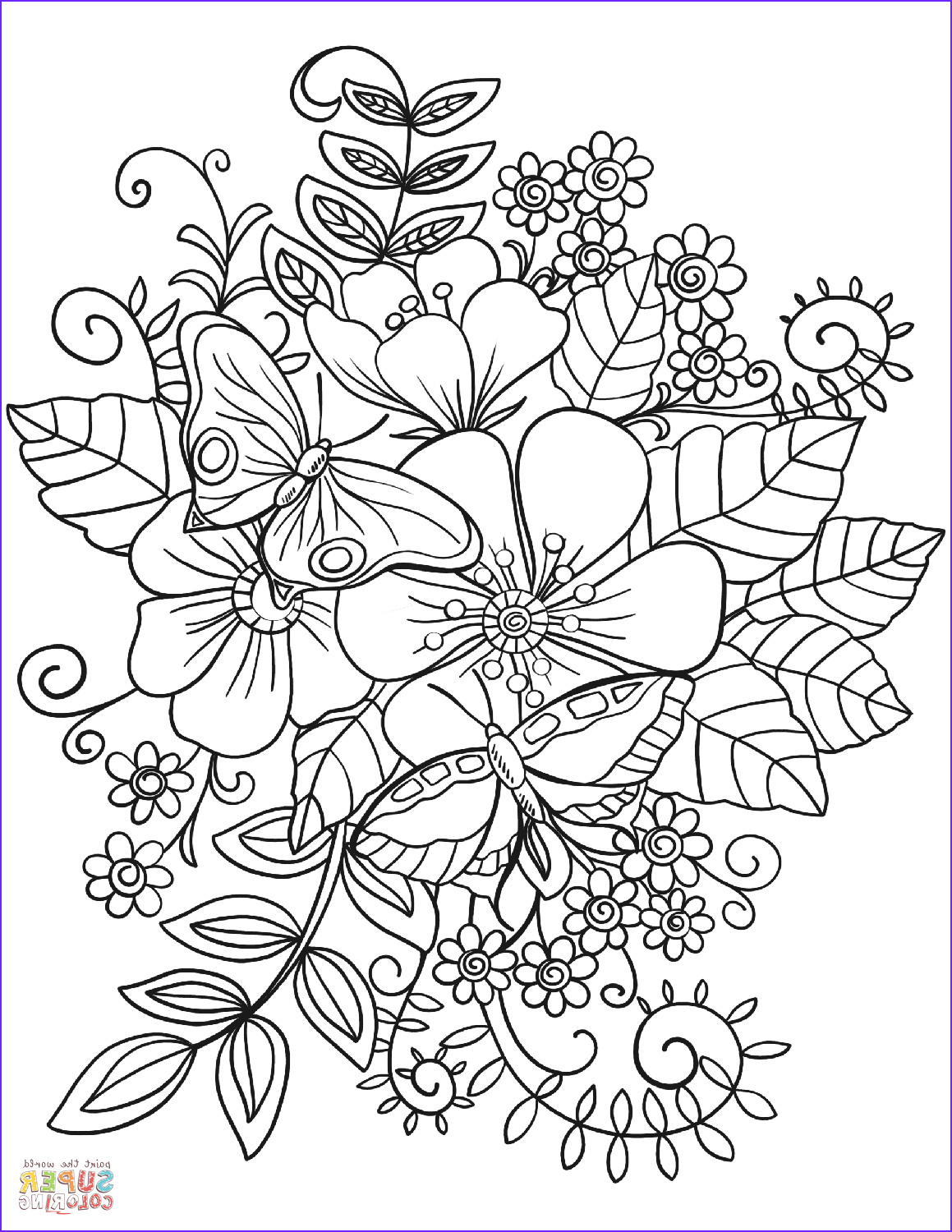 Flower Coloring Pages for Adults Elegant Gallery butterflies On Flowers Coloring Page