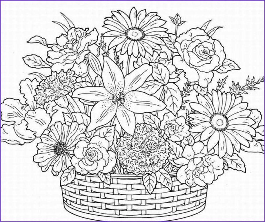Flower Coloring Pages for Adults New Photos Flower Basket Coloring Pages 2